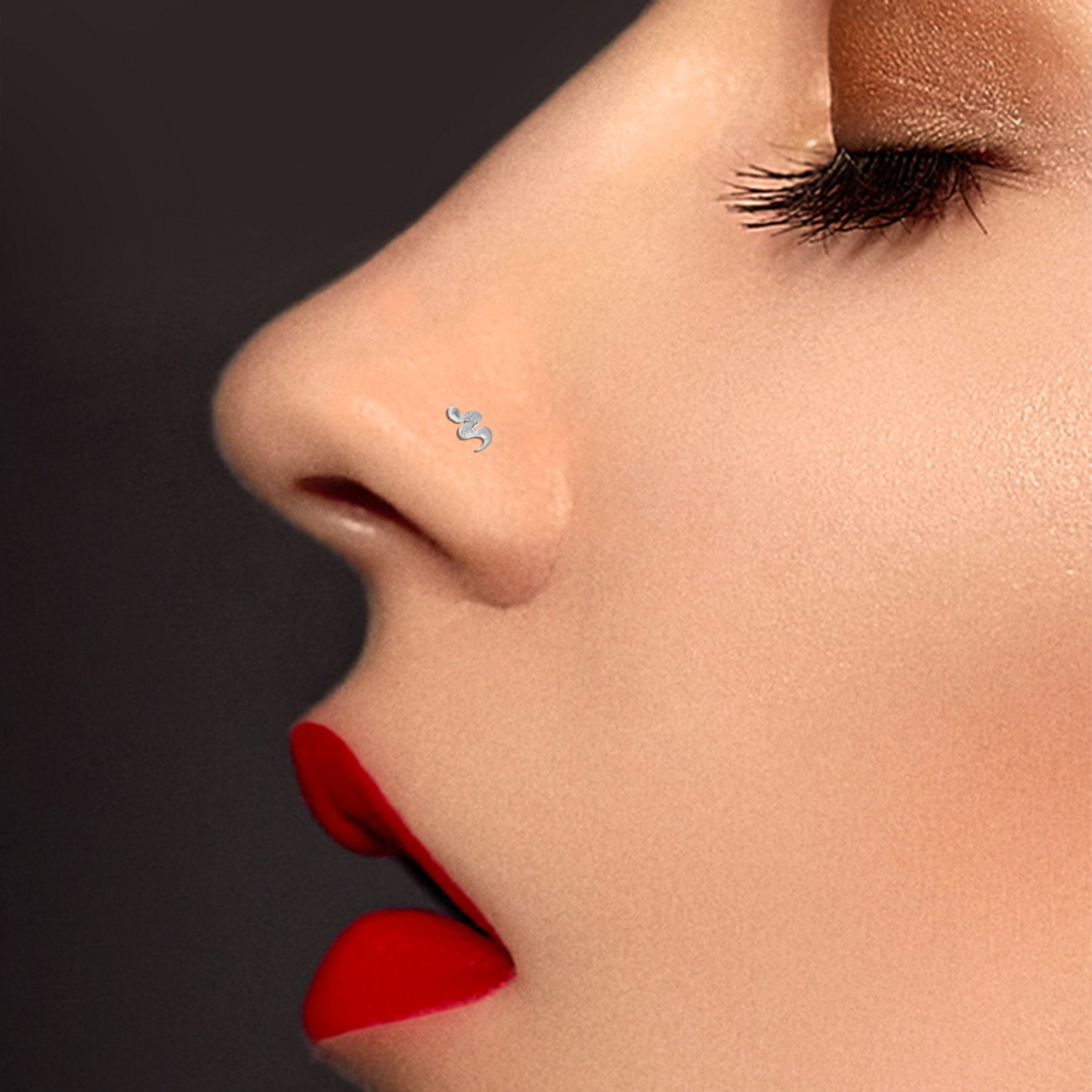 18 carats white gold snake nose piercing and zirconium oxide (small ...