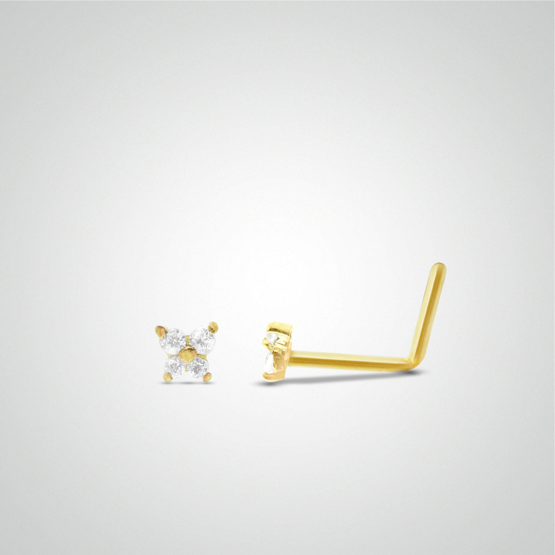 18 Carats Yellow Gold Butterfly And Zirconium Oxide Nose Piercing