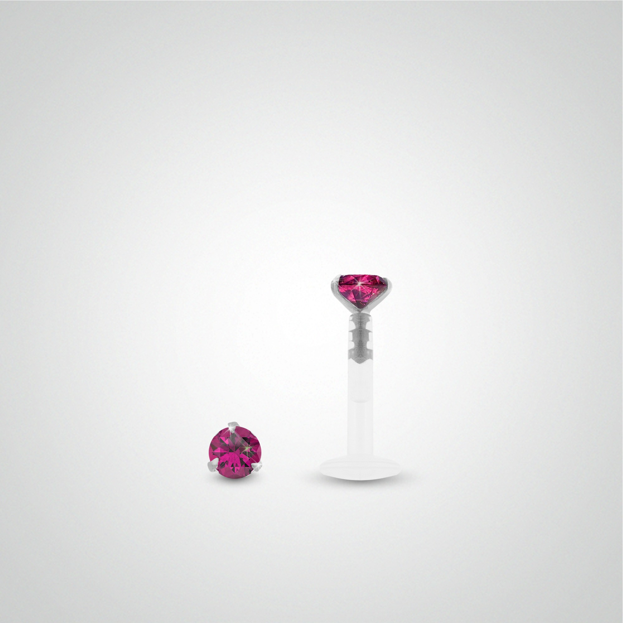 18 carats white gold fuchsia zircon cartilage piercing (helix).