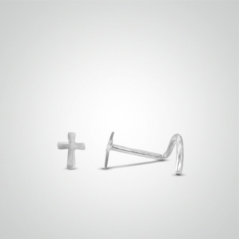 18 carats white gold cross nose stud.