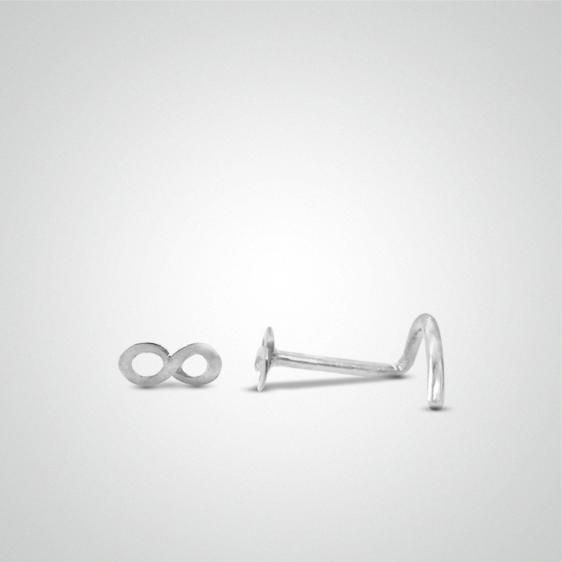 18 carats white gold infinity nose stud.