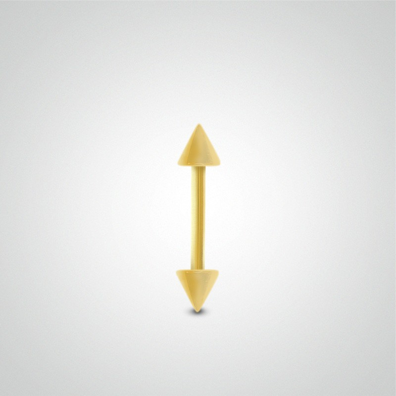 18 carats yellow gold genital piercing 1,2mm(16ga) with spikes.