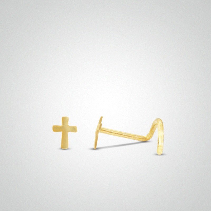 18 carats yellow gold cross nose stud.