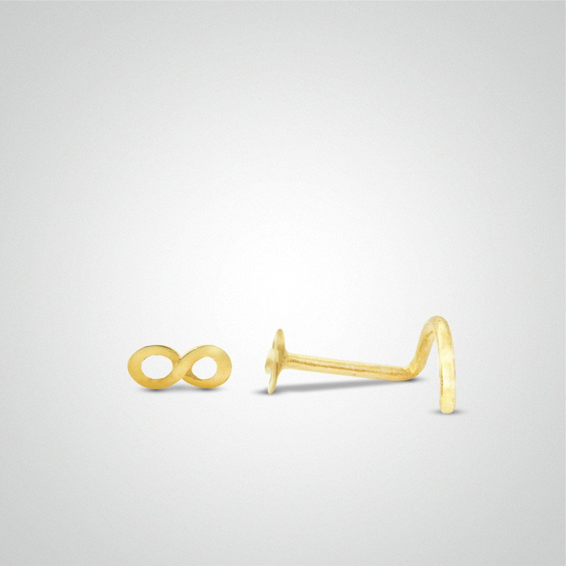18 carats yellow gold infinity nose stud.