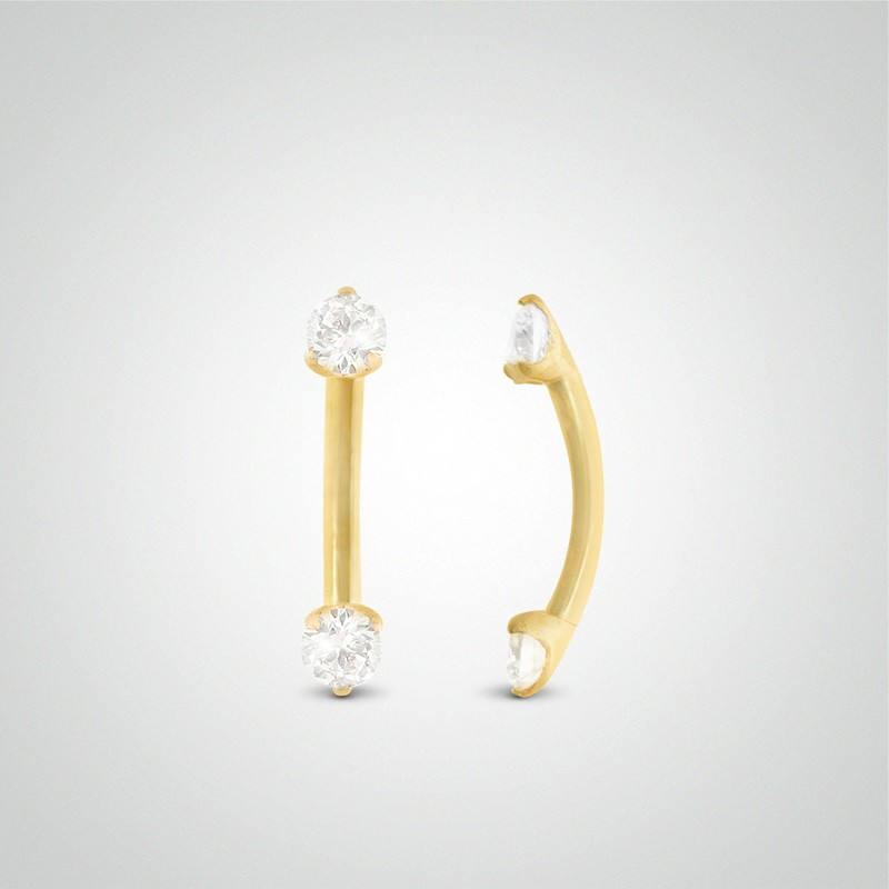 18 carats yellow gold diamond 0,05 carats eyebrow piercing