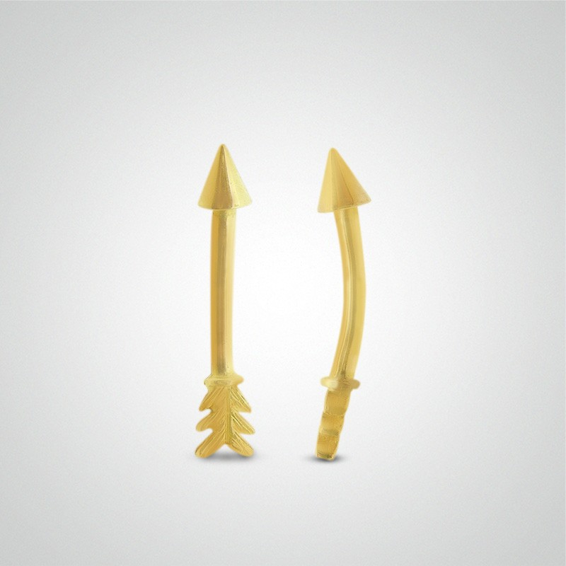 18 carats yellow gold arrow eyebrow piercing
