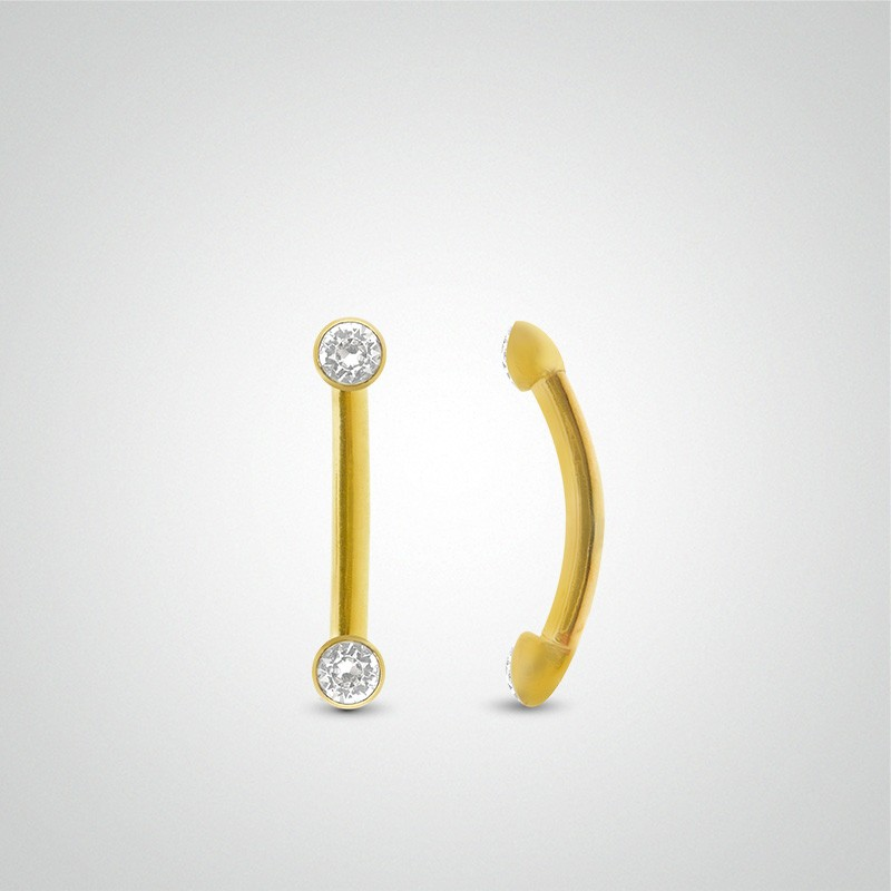18 carats yellow gold 2 claw set zirconium oxides 2mm(1/16in) eyebrow piercing