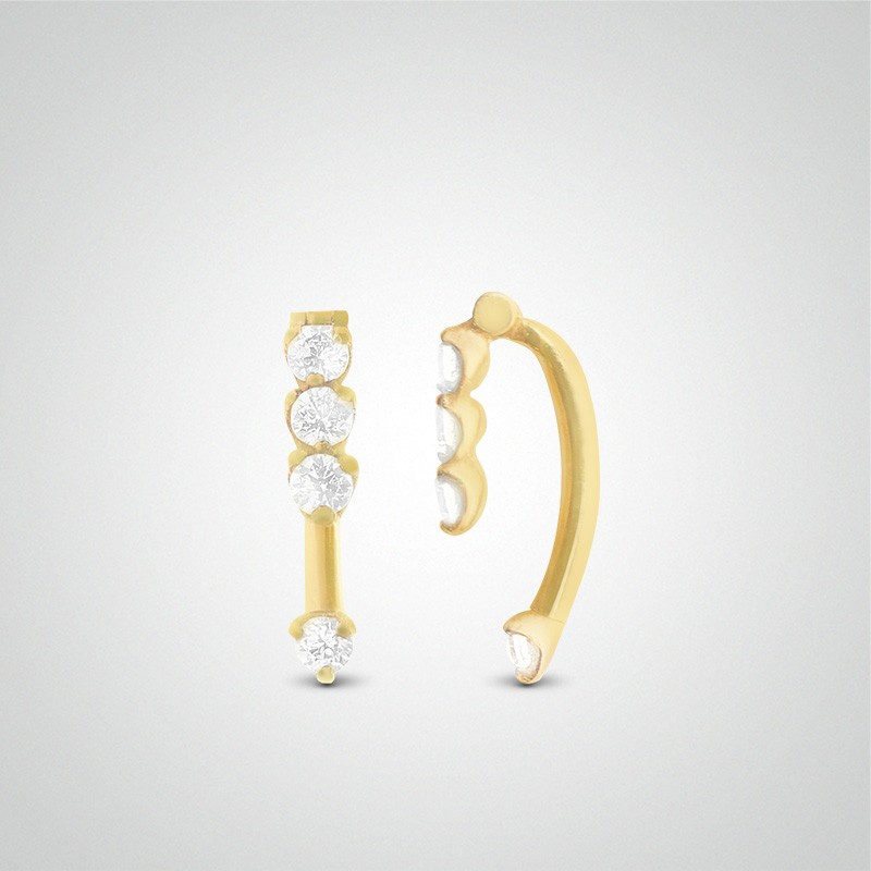 18 carats yellow gold 4 zirconium oxides eyebrow piercing
