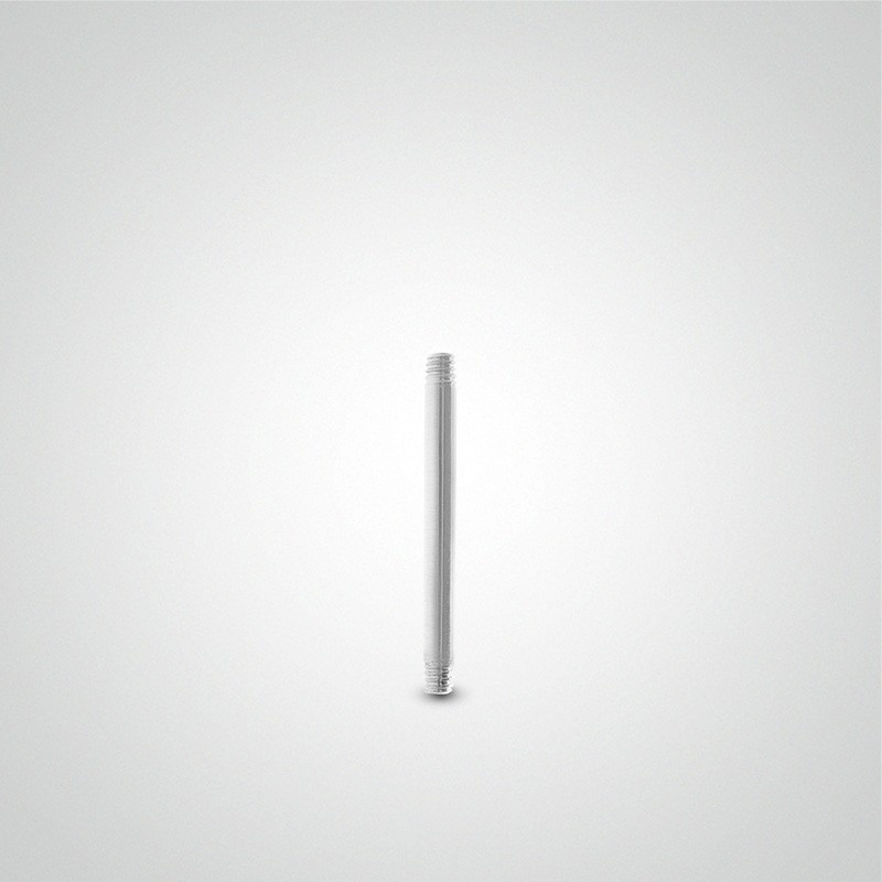 18 carats white gold straight barbell 1,2mm (16ga).