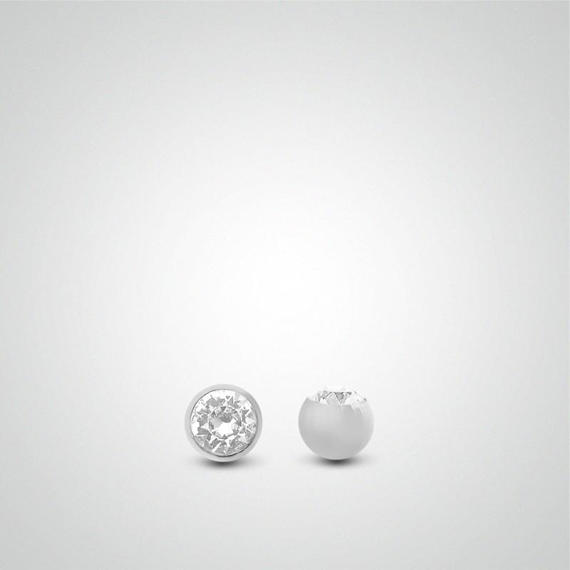 18 carats white gold ball zirconium oxide 1,6mm (14ga).