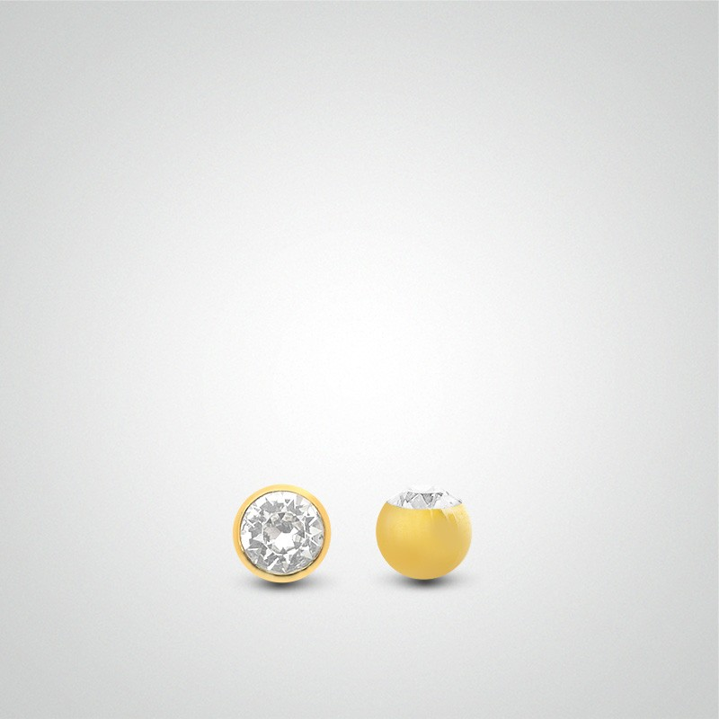 18 carats yellow gold ball zirconium oxide 1,6mm (14ga).