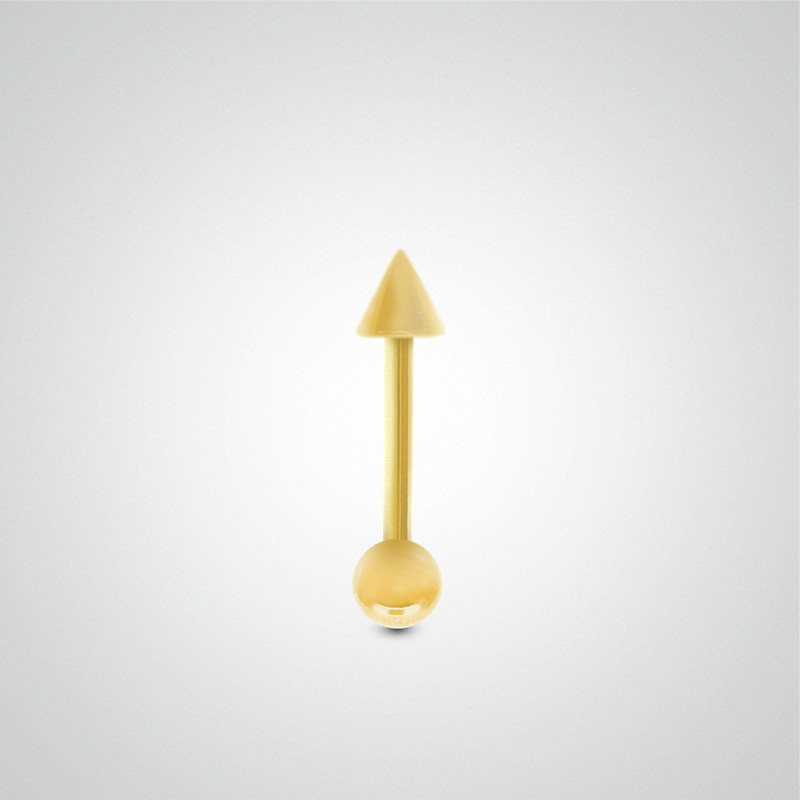 18 carats yellow gold helix piercing 1,2mm(16ga) with ball and spike.