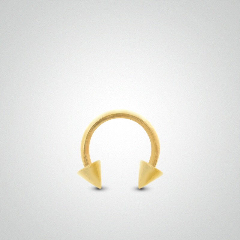18 carats yellow gold circular ring cartilage (helix) piercing 1,2mm(16ga) with spikes.
