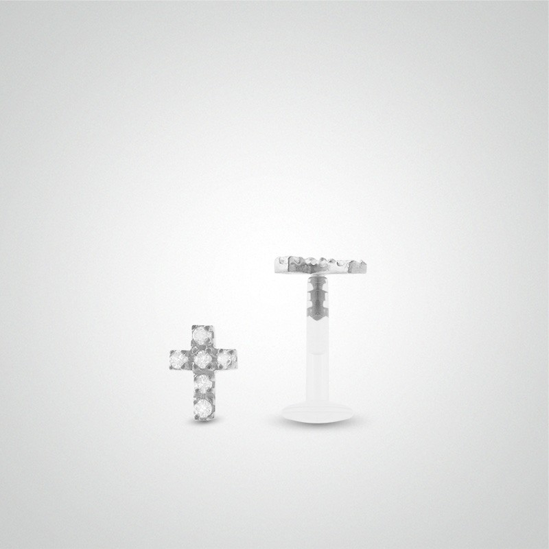 18 carats white gold cross cartilage piercing (helix)