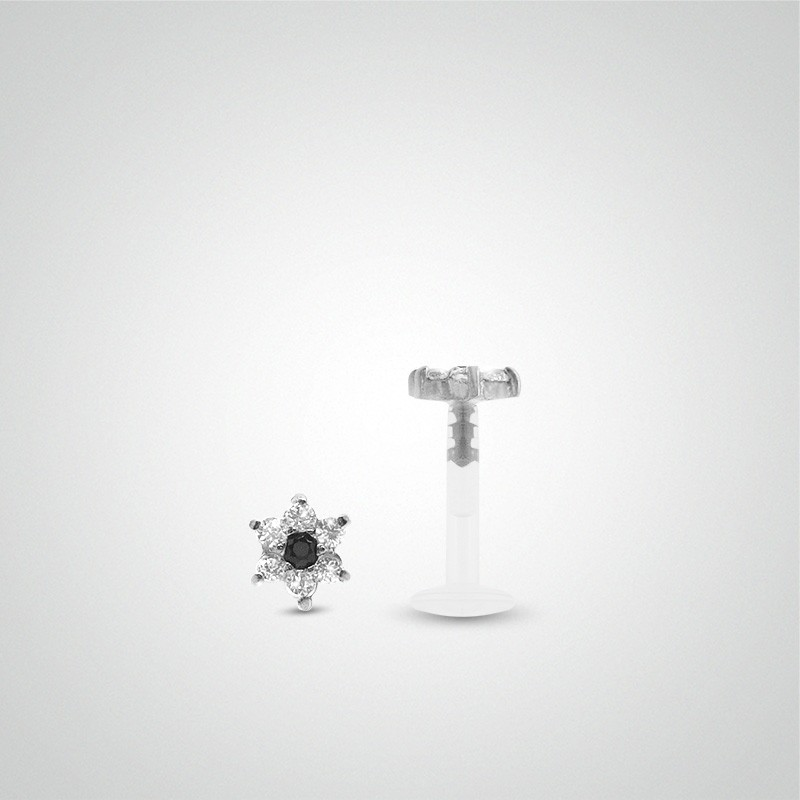 18 carats white gold flower and zirconium oxides labret piercing