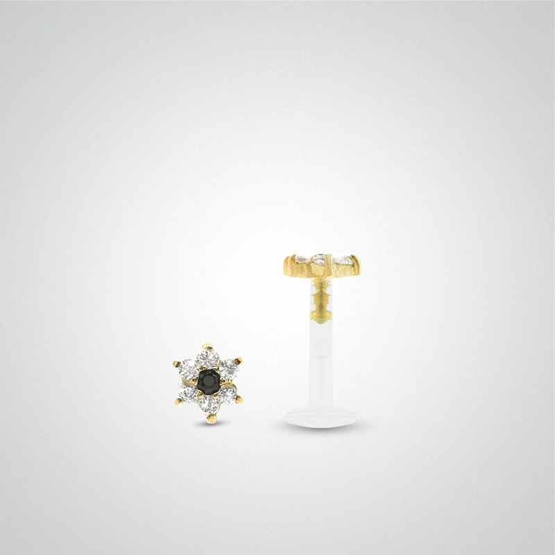 18 carats yellow gold flower and zirconium oxides labret piercing
