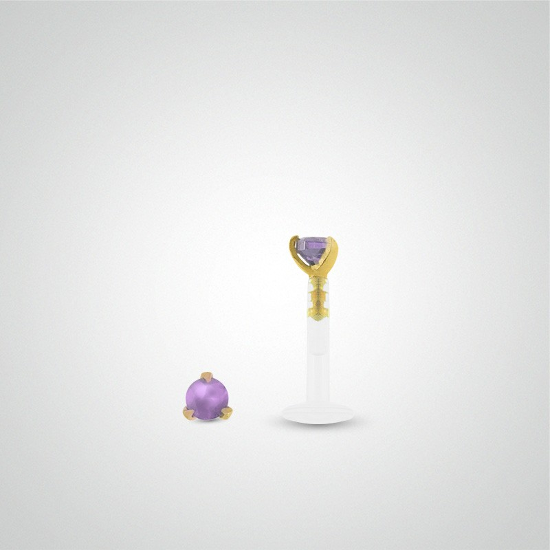 18 carats yellow gold purple zirconium oxide labret piercing