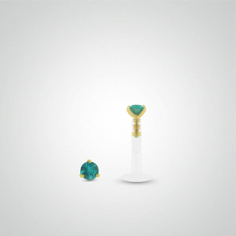 18 carats yellow gold turquoise zirconium oxide labret piercing