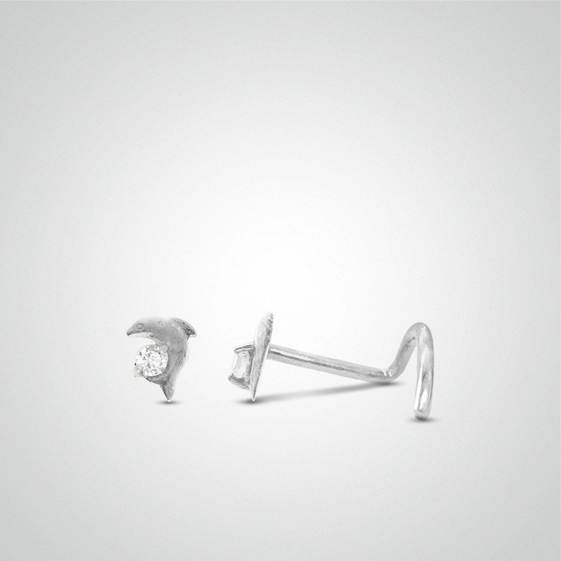 18 carats white gold dolphin nose piercing