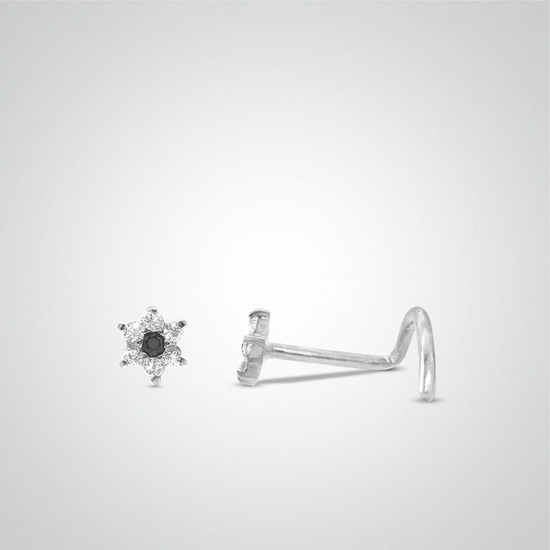 18 carats white gold flower and zirconium oxide nose piercing