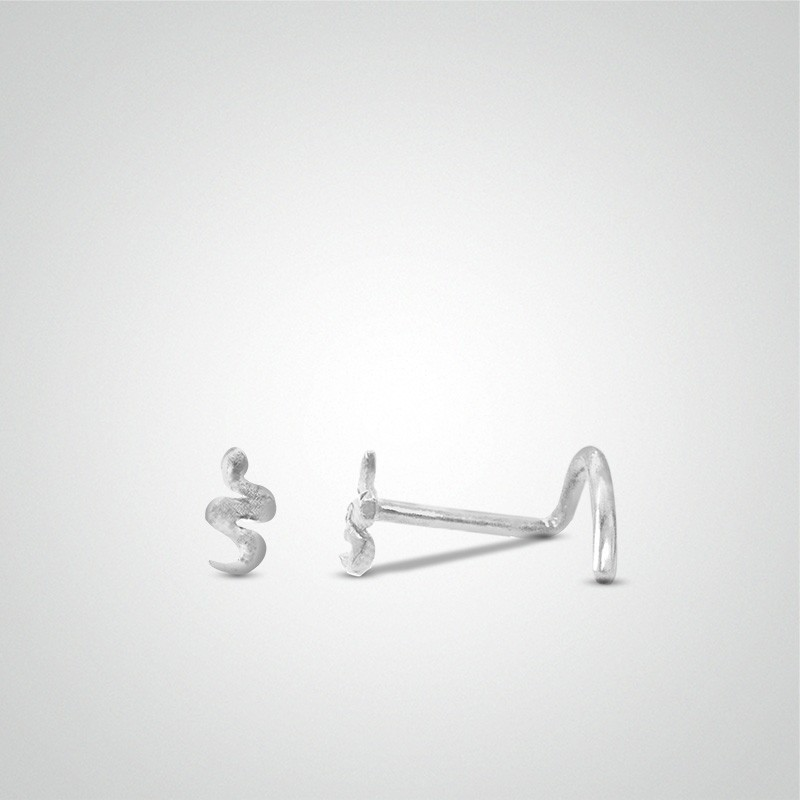 18 carats white gold snake nose piercing and zirconium oxide (small size)