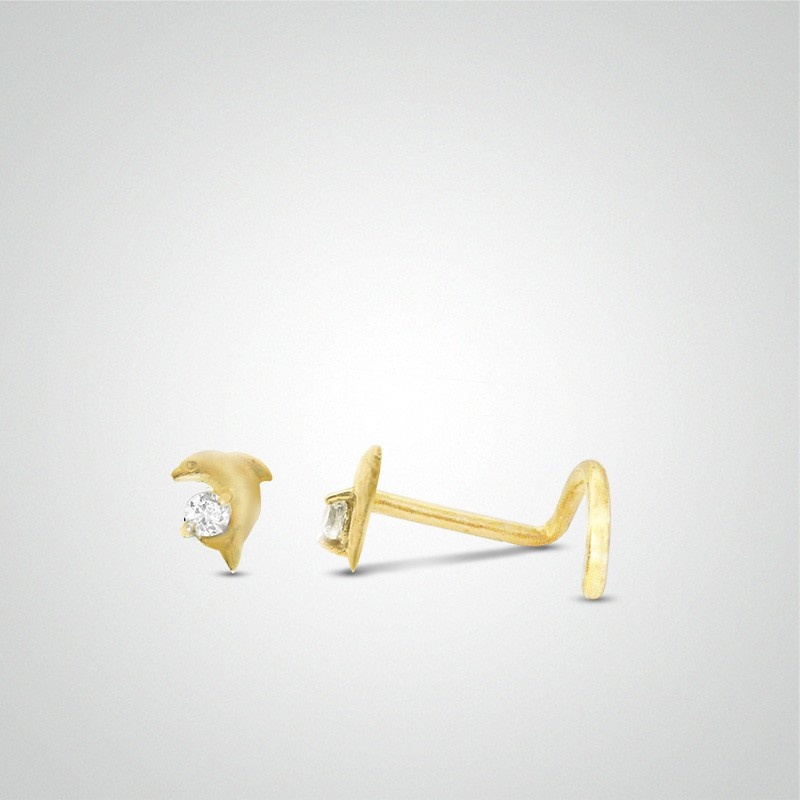 18 carats yellow gold dolphin nose piercing