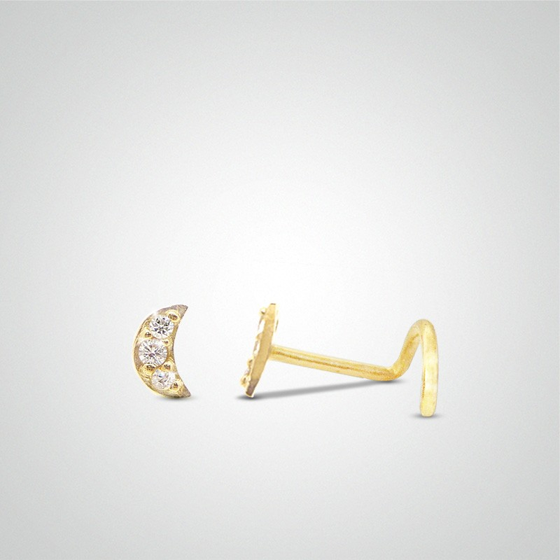 18 carats yellow gold moon and zirconium oxide nose piercing
