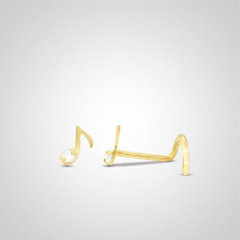 18 carats yellow gold musical note piercing
