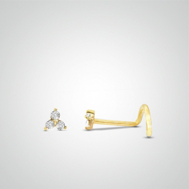 18 carats yellow gold 3 zirconium oxides nose piercing