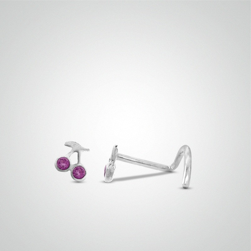18 carats white cherries nose piercing