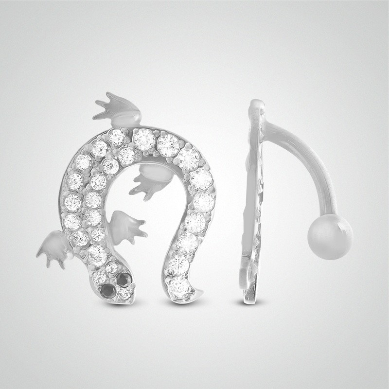 18 carats white gold salamander belly button piercing