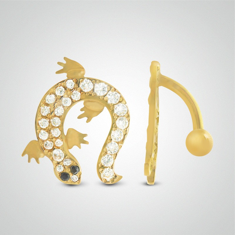 18 carats yellow gold salamander belly button piercing
