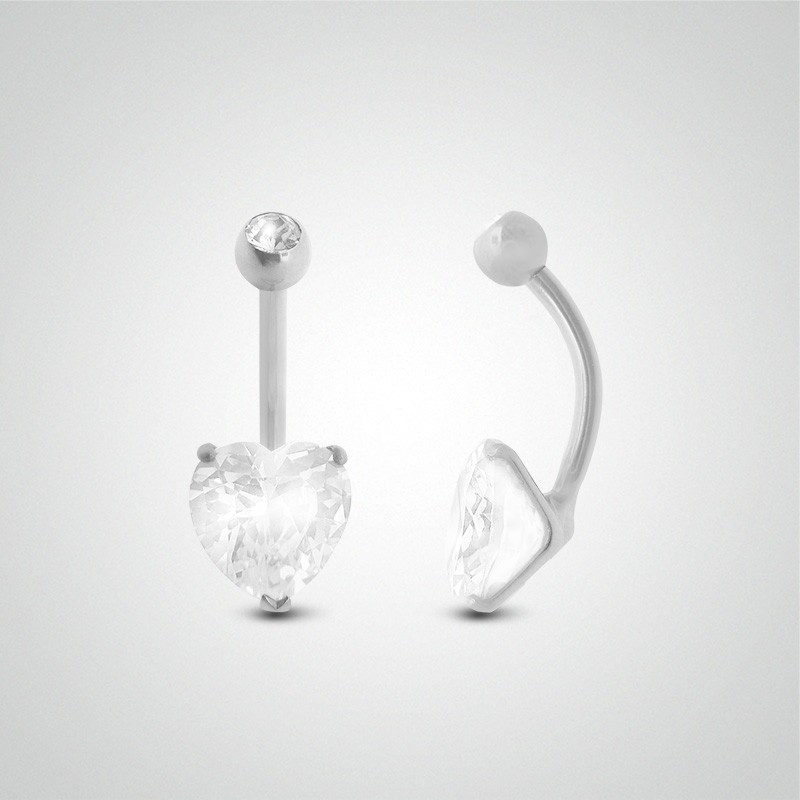 18 carats white gold belly button piercing with heart zirconium oxide 8mm (5/16in)