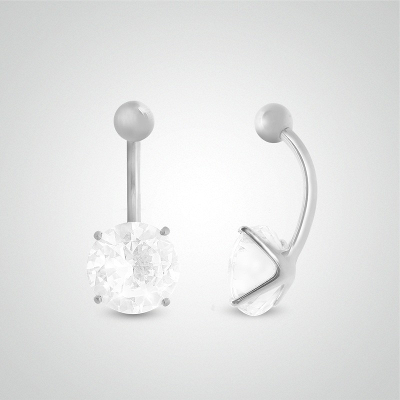 18 carats white gold belly button piercing with round jewel 10mm (3/8in).