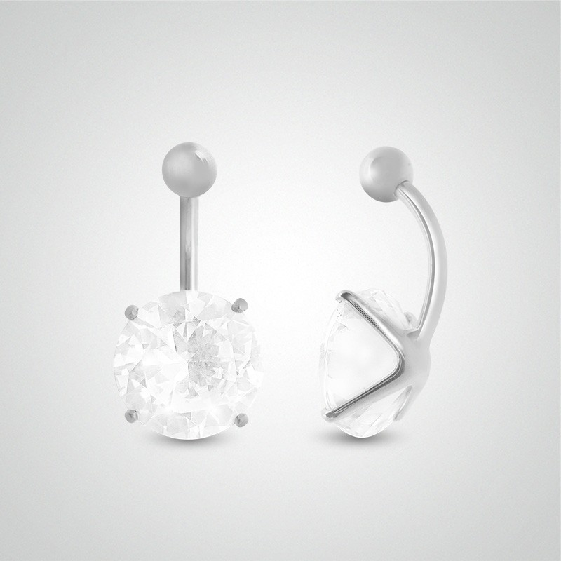 18 carats white gold belly button piercing with round jewel 12mm (5/32in).