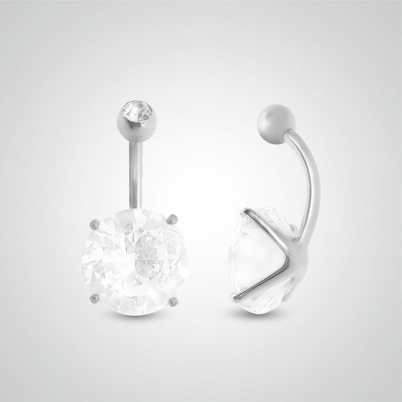 18 carats white gold belly button piercing with round jewel 12mm (5/32in)