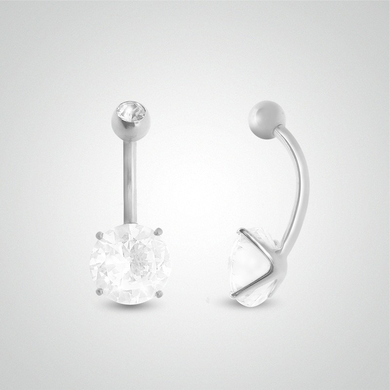 18 carats white gold belly button piercing with round jewel 8mm (5/16in) and zirconium oxide ball.