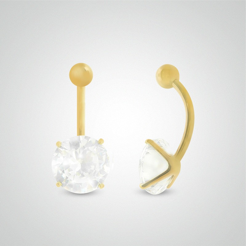 18 carats yellow gold belly button piercing with round jewel 10mm (3/8in).