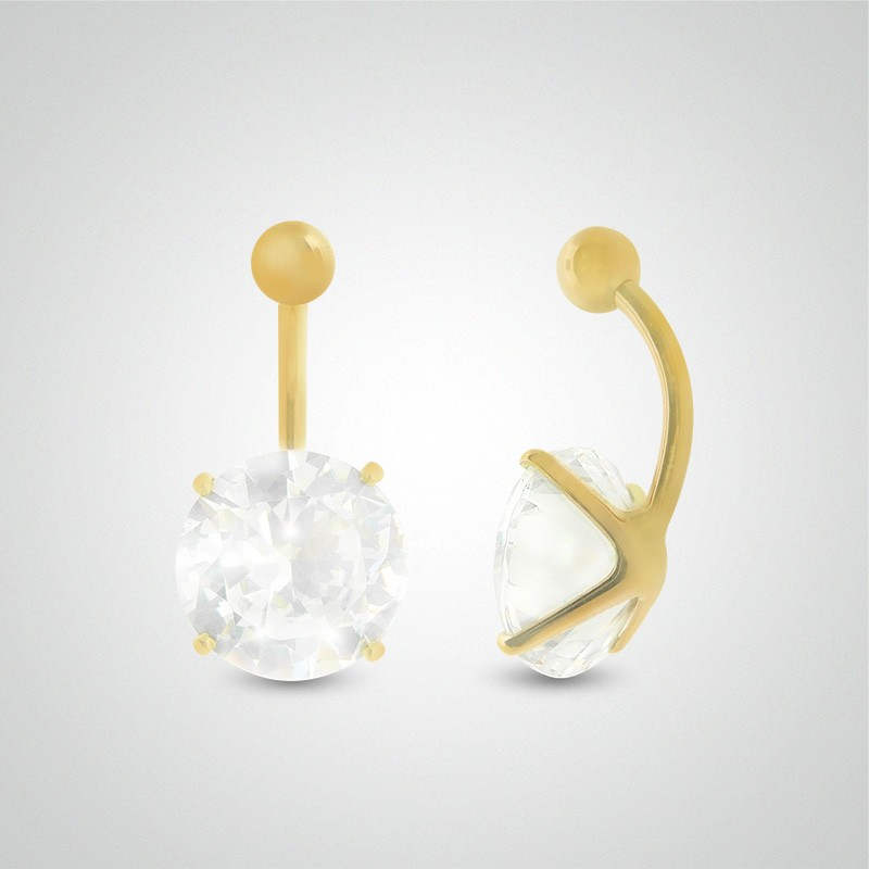 18 carats yellow gold belly button piercing with round jewel 12mm (5/32in).