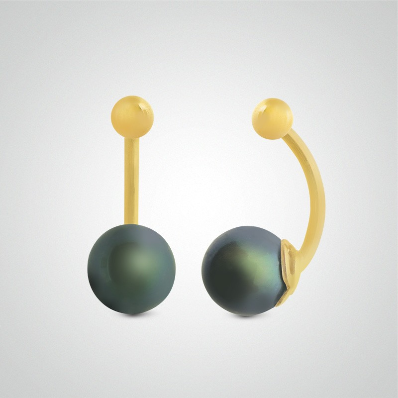 18 carats yellow gold natural grey pearl belly button piercing.