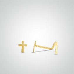 Yellow gold cross nose stud
