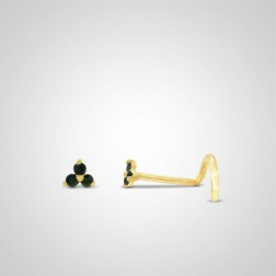 Yellow gold three black zircons nose stud