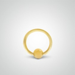 Yellow gold ring with ball piercing 1,6mm(14ga)