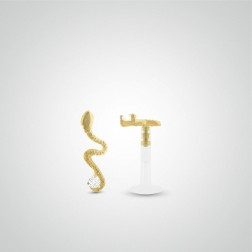Yellow gold snake tragus piercing