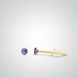 Yellow gold purple zircon earring
