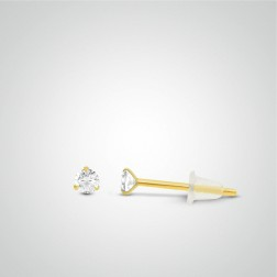 Yellow gold white zircon earring