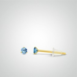Yellow gold clear blue zircon earring