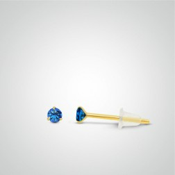 Yellow gold dark blue zircon earring