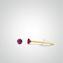 Yellow gold fuchsia zircon earring