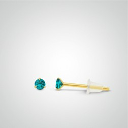 Yellow gold turquoise zircon earring